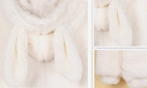 Kawaii Fluffy Bunny/Bear Ear Hoodie Coat Double Sides Fleece Jacket SP141466 - SpreePicky  - 5