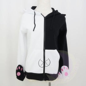 Dangan Ronpa モノクマPrincipal Monokuma Black/White Bear Fleece Coat Jacket SP141471 - SpreePicky  - 2