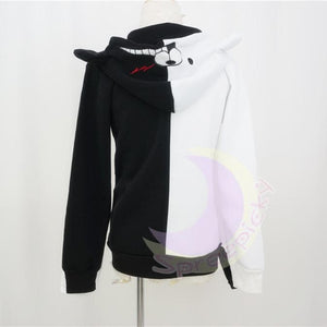 Dangan Ronpa モノクマPrincipal Monokuma Black/White Bear Fleece Coat Jacket SP141471 - SpreePicky  - 4
