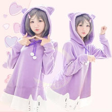 "Load image into Gallery viewer, [The ""Hentai"" Prince and the Stony Cat] Tsukiko Purple Fleece Hoodie Jumper Dress SP141500 - SpreePicky  - 1"