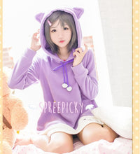 "Load image into Gallery viewer, [The ""Hentai"" Prince and the Stony Cat] Tsukiko Purple Fleece Hoodie Jumper Dress SP141500 - SpreePicky  - 2"