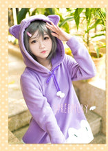 "Load image into Gallery viewer, [The ""Hentai"" Prince and the Stony Cat] Tsukiko Purple Fleece Hoodie Jumper Dress SP141500 - SpreePicky  - 3"