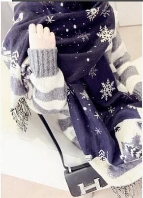 UNISEX! Happy Winter! Christmas Snowflake Wool Spinning Shawl Scarf SP141512 - SpreePicky  - 2