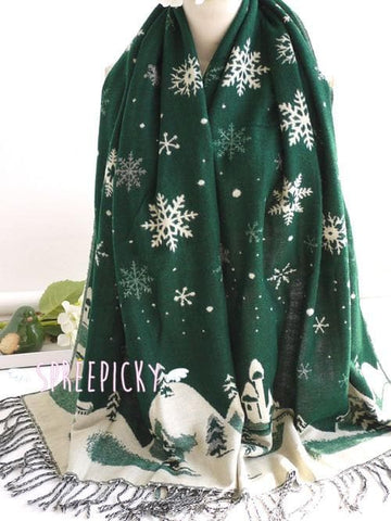 UNISEX! Happy Winter! Christmas Snowflake Wool Spinning Shawl Scarf SP141512 - SpreePicky  - 3