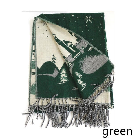 UNISEX! Happy Winter! Christmas Snowflake Wool Spinning Shawl Scarf SP141512 - SpreePicky  - 5