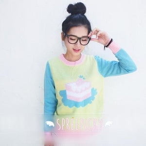 Super Kawaii Sweet Marcaron Cake Long Sleeve Knitting Sweater Jumper Top SP141525 - SpreePicky  - 3