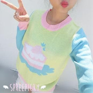 Super Kawaii Sweet Marcaron Cake Long Sleeve Knitting Sweater Jumper Top SP141525 - SpreePicky  - 5