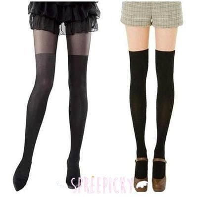 Taller, Bigger and Darker! Fake Over Knees Silk Tights 2 Colors Available SP141557 - SpreePicky  - 1