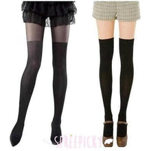Load image into Gallery viewer, Taller, Bigger and Darker! Fake Over Knees Silk Tights 2 Colors Available SP141557 - Harajuku Kawaii Fashion Anime Clothes Fashion Store - SpreePicky