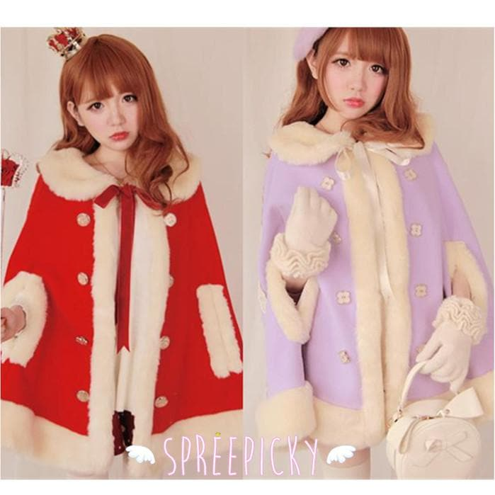 Noble Fur Princess Woolen Cape Coat SP141561 - SpreePicky  - 1