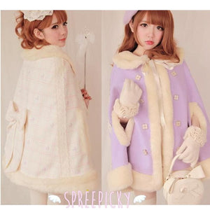 Noble Fur Princess Woolen Cape Coat SP141561 - SpreePicky  - 2