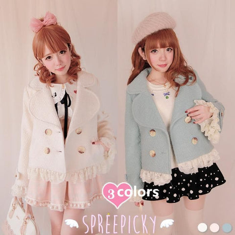 [3 Colors Available] Winter Gorgeous Lace Woolen Short Jacket Coat  SP141566