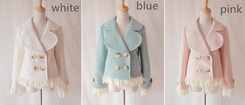 [3 Colors Available] Winter Gorgeous Lace Woolen Short Jacket Coat  SP141566 - SpreePicky  - 2