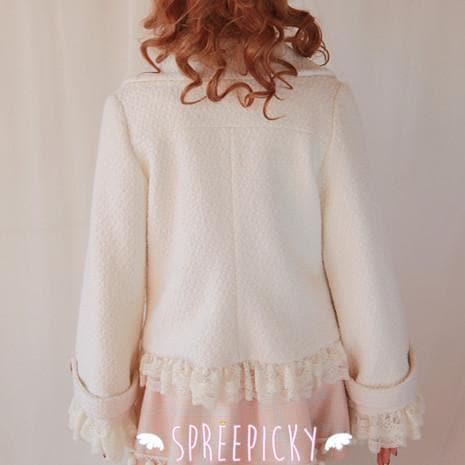 [3 Colors Available] Winter Gorgeous Lace Woolen Short Jacket Coat  SP141566 - SpreePicky  - 3