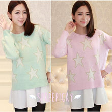 Load image into Gallery viewer, [3 Colors] Pastel Candy Color Stars Patterns Knitting Sweater Jumper Top  SP141587 - SpreePicky  - 1