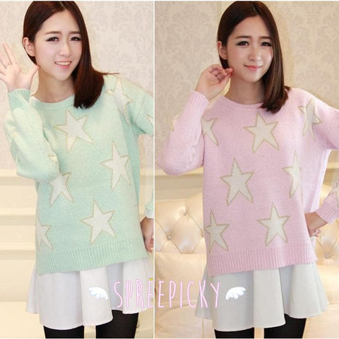 [3 Colors] Pastel Candy Color Stars Patterns Knitting Sweater Jumper Top  SP141587 - SpreePicky  - 1