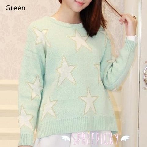 [3 Colors] Pastel Candy Color Stars Patterns Knitting Sweater Jumper Top  SP141587 - SpreePicky  - 2