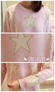 [3 Colors] Pastel Candy Color Stars Patterns Knitting Sweater Jumper Top  SP141587 - SpreePicky  - 3