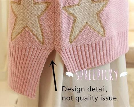 [3 Colors] Pastel Candy Color Stars Patterns Knitting Sweater Jumper Top  SP141587 - SpreePicky  - 4