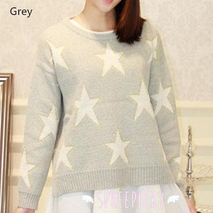 [3 Colors] Pastel Candy Color Stars Patterns Knitting Sweater Jumper Top  SP141587 - SpreePicky  - 5