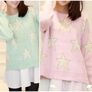 [3 Colors] Pastel Candy Color Stars Patterns Knitting Sweater Jumper Top  SP141587 - SpreePicky  - 6