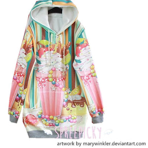 [Acrylicana Design] Milkshake-Sweetheart Winter Fleece Hoodie Sweater Jumper SP141597 - SpreePicky  - 3