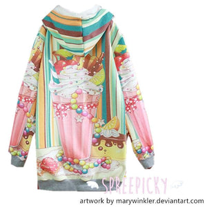 [Acrylicana Design] Milkshake-Sweetheart Winter Fleece Hoodie Sweater Jumper SP141597 - SpreePicky  - 2