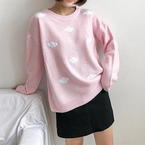 White/Pink/Blue Kawaii Clouds Printing Loose Sweater SP14234