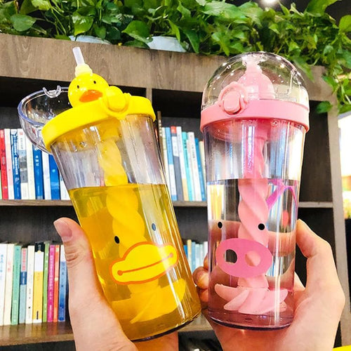 4 Colors Kawaii Duck/Pig/Cat/Bear Suck Water Bottle SP14463