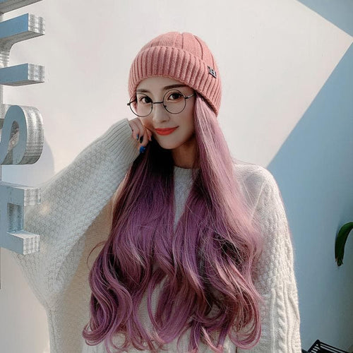 Fashion Knitting Hat With Removable Long Curly Wig SP14769