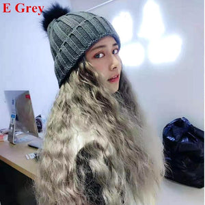 Colorful Knitting Hat With Removable Long Curly Wig 1 SP14770 - SpreePicky FreeShipping