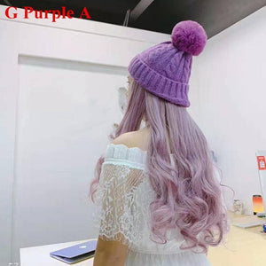 Colorful Knitting Hat With Removable Long Curly Wig 6 SP14770