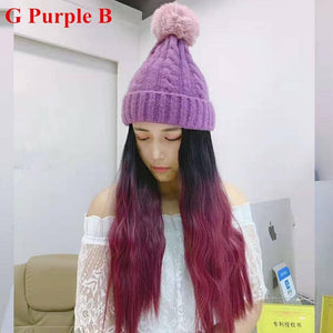 Colorful Knitting Hat With Removable Long Curly Wig 2 SP14770