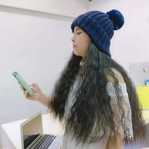 Colorful Knitting Hat With Removable Long Curly Wig 3 SP14770