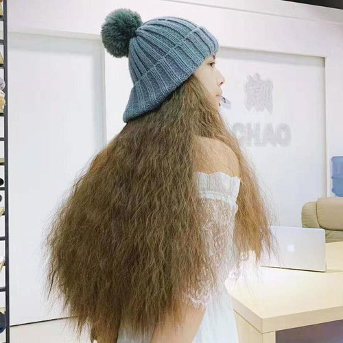 Colorful Knitting Hat With Removable Long Curly Wig 1 SP14770