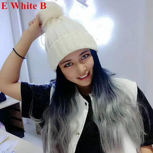 Colorful Knitting Hat With Removable Long Curly Wig 5 SP14770
