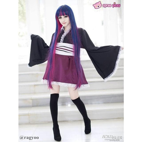 2 Colors Cosplay Costume Panty & Stocking Navy/ Royal Blue Wig 100 cm SP151650 - SpreePicky  - 2