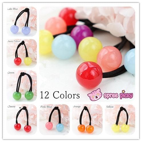 [12 Colors] Candy Colors Jelly Balls Hair Ring 2 Pieces SP151665 - SpreePicky  - 1