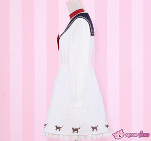 Sailor Moon Luna Printing Sailor Dress with Ribbon Necklace SP151690 - SpreePicky  - 3