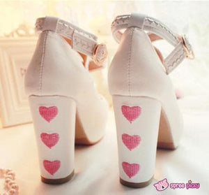 Lolita Hearts Embroidered White Heels with Sweet Pink Fur Platform Shoes SP151691 - SpreePicky  - 5