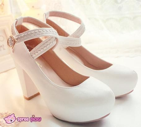 Lolita Hearts Embroidered White Heels with Sweet Pink Fur Platform Shoes SP151691 - SpreePicky  - 4