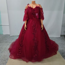 Load image into Gallery viewer, Burgundy sweetheart tulle lace long evening dress, formal dress SP16035 - SpreePicky