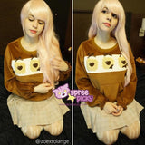 S/M/L Pink/Brown Kawaii Chocolate Cookies Jumper Top SP165489