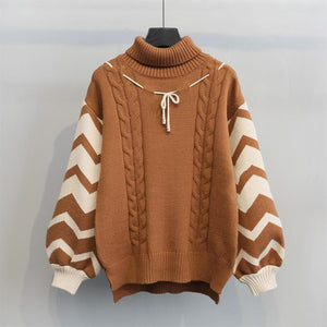 Sweet Loose Turtleneck Knitting Sweater SP1711274