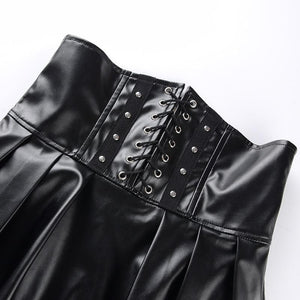 Gothic Bandage Faux Leather Black Mini Pleated Skirt SP14675