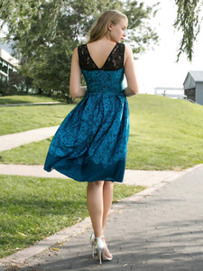 1950s Lace Floral Print Swing Dress - SpreePicky FreeShipping