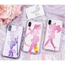 Load image into Gallery viewer, Sailor Moon Chibi Moon Sailor Saturn Quicksand Liquid Glitter Phone Case SP1812510