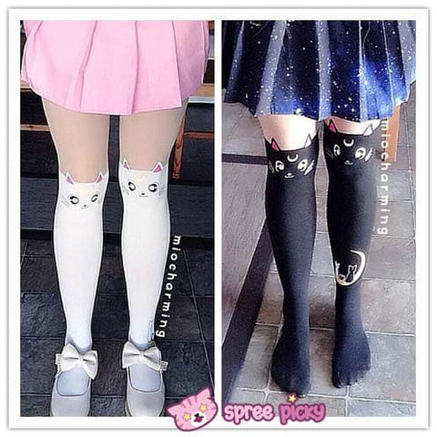 Screaming! Sailor Moon Luna Artemis Kitten with Tail on Back Legging Tights SP141305 - SpreePicky  - 7
