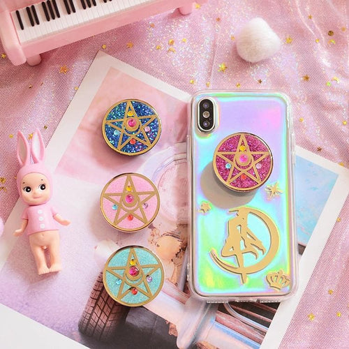 4 Colors Sailor Moon Paillette Star Phone Case+Phone Holder SP13521