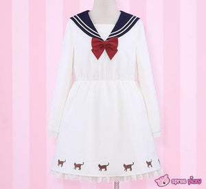 Sailor Moon Luna Printing Sailor Dress with Ribbon Necklace SP151690 - SpreePicky  - 1